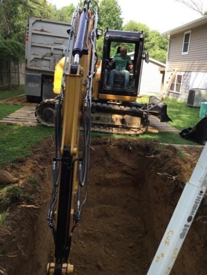 Excavating for tank install